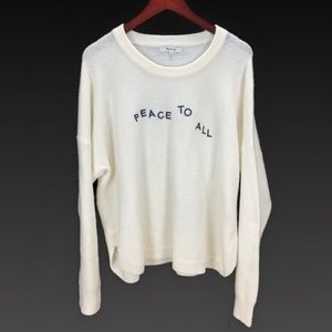 Madewell Peace To All Off white Sweater Size XL